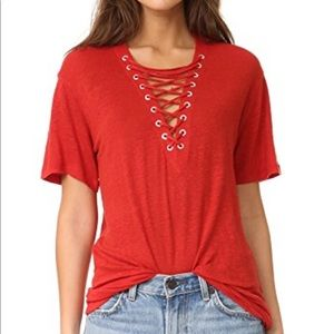 IRO red lace up short sleeve top